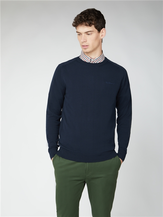 Navy Blue Signature Cotton Crew Neck Jumper
