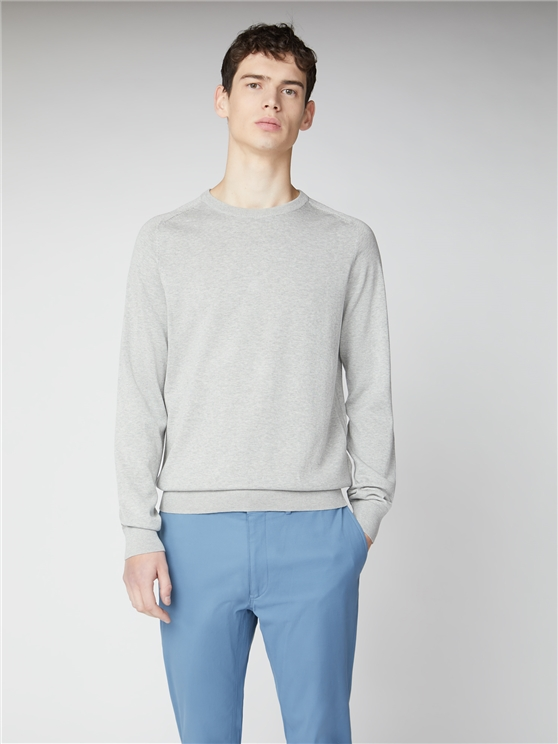 Pale Grey Signature Cotton Crew Neck Jumper
