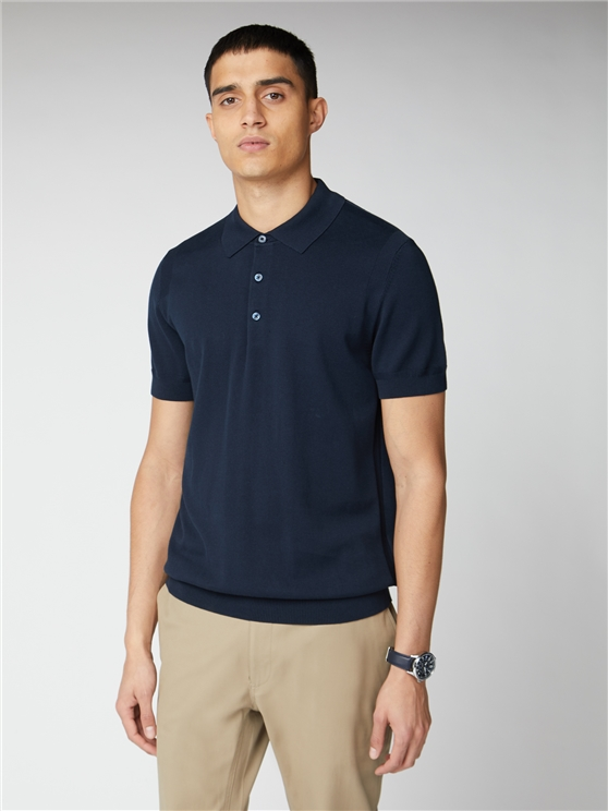 Signature Navy Knitted Cotton Short Sleeve Polo