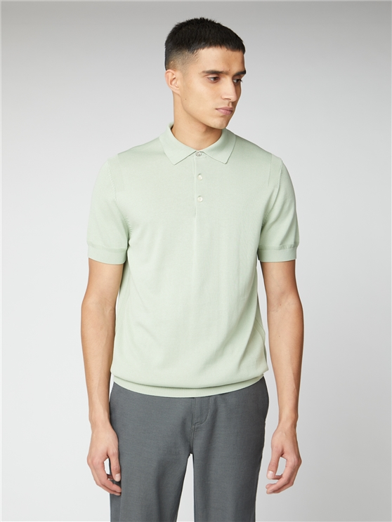 Signature Pale Green Knitted Cotton Short Sleeve Polo