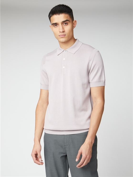 Signature Lilac Knitted Cotton Short Sleeve Polo