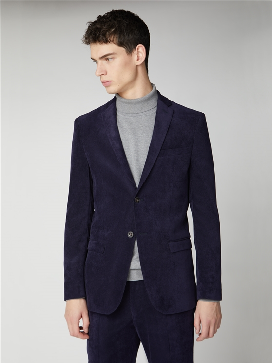 Navy Cord Slim Fit Suit Jacket