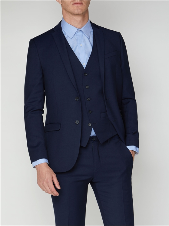 Bright Blue Semi Plain Suit Jacket