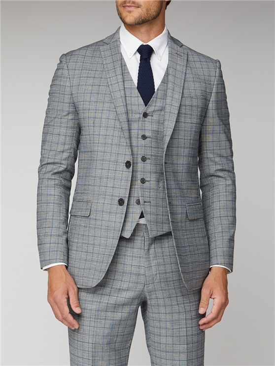Cool Grey Blue Check Suit Jacket