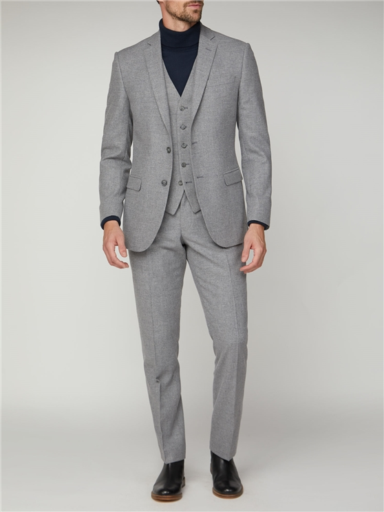 Cool Grey Texture Tailored Fit Suit Jacket