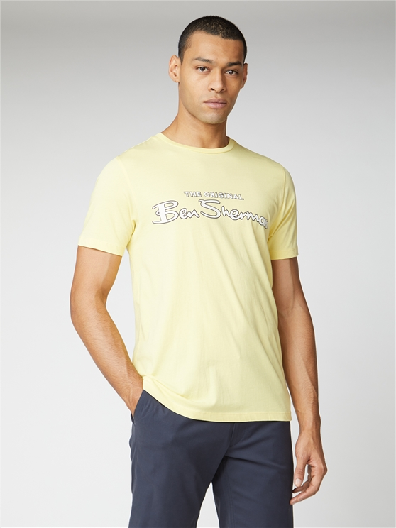 Lemon Yellow Signature Logo Print Tee