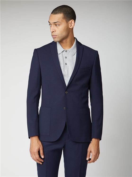 Deep Blue Structure Tailored Fit Suit Jacket