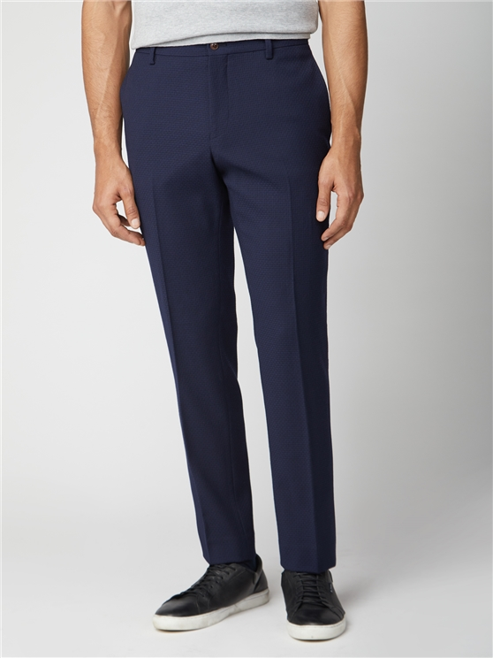 Deep Blue Structure Tailored Fit Suit Trouser