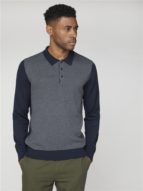 Long Sleeve Jacquard Polo Knit