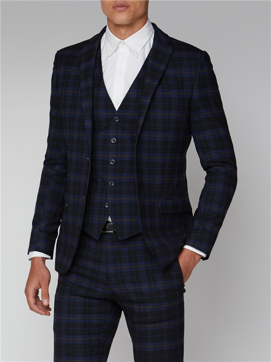 Blue Mustard Check Slim Fit Suit Jacket