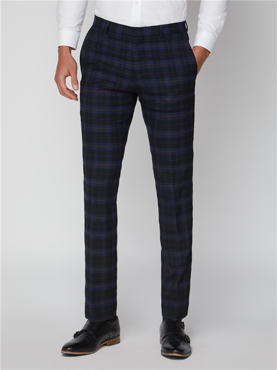 Blue Mustard Check Slim Fit Trousers