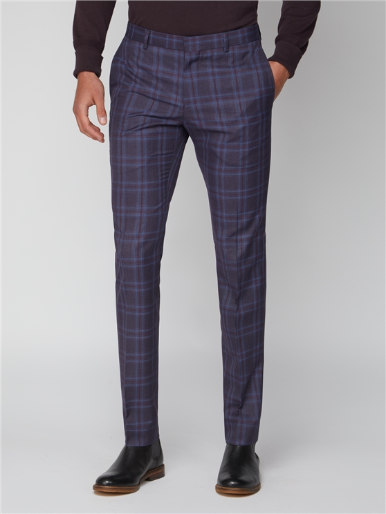 Purple Check Skinny Fit Suit Trouser
