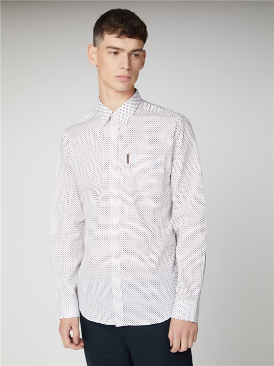 Long Sleeve Contrast Spot Print Shirt