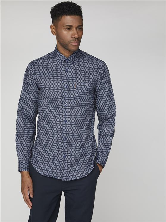 Long Sleeve Retro Geo print Shirt