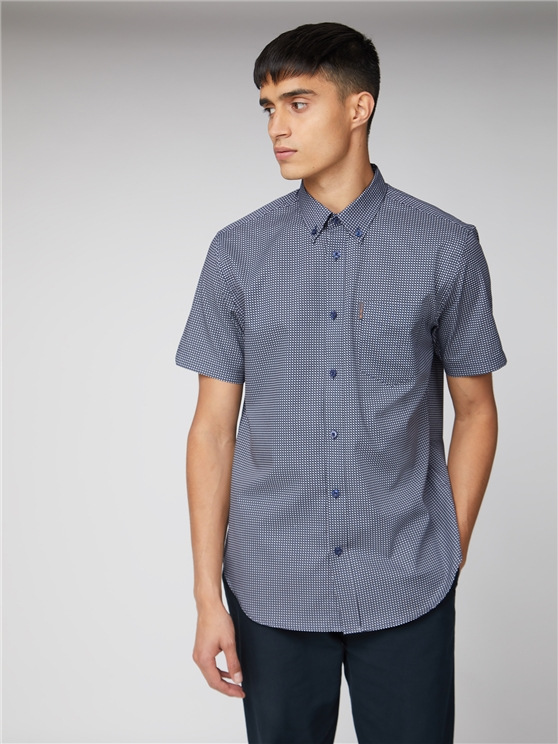 Short Sleeve Micro Cross Print Shirt