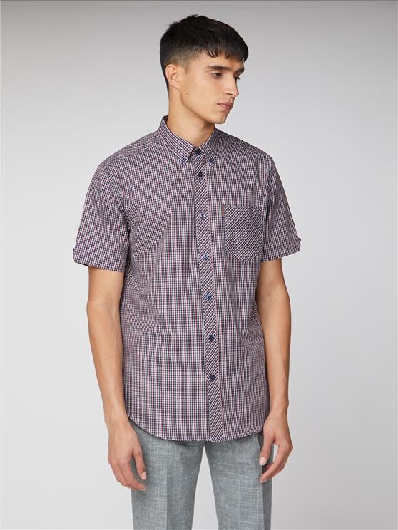 Short Sleeve Micro Check Shirt