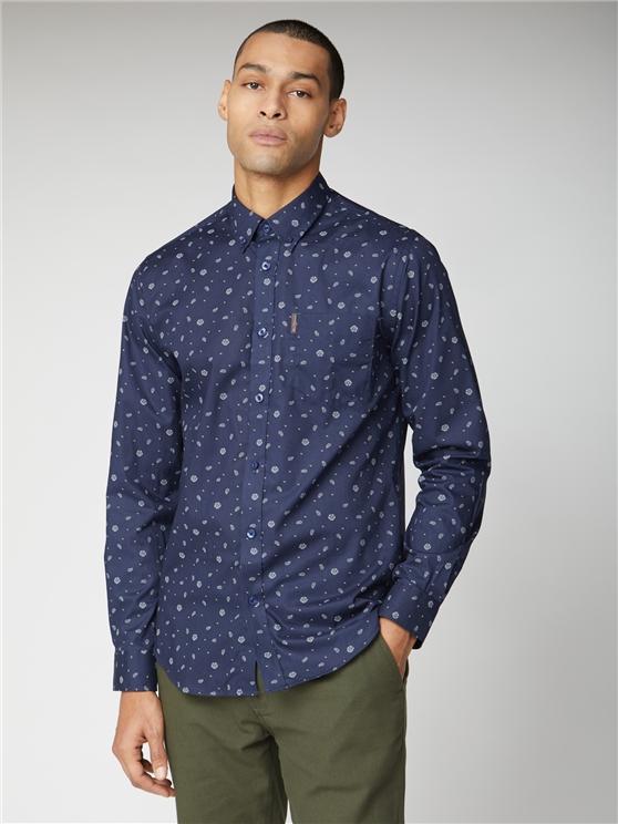 Long Sleeve Rose Scatter Print Shirt