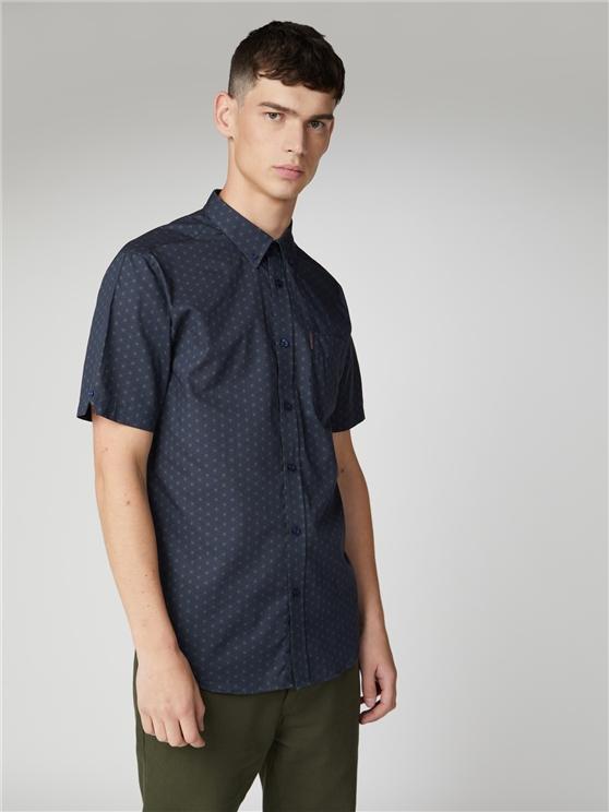 Short Sleeve Contrast Geo Print Shirt