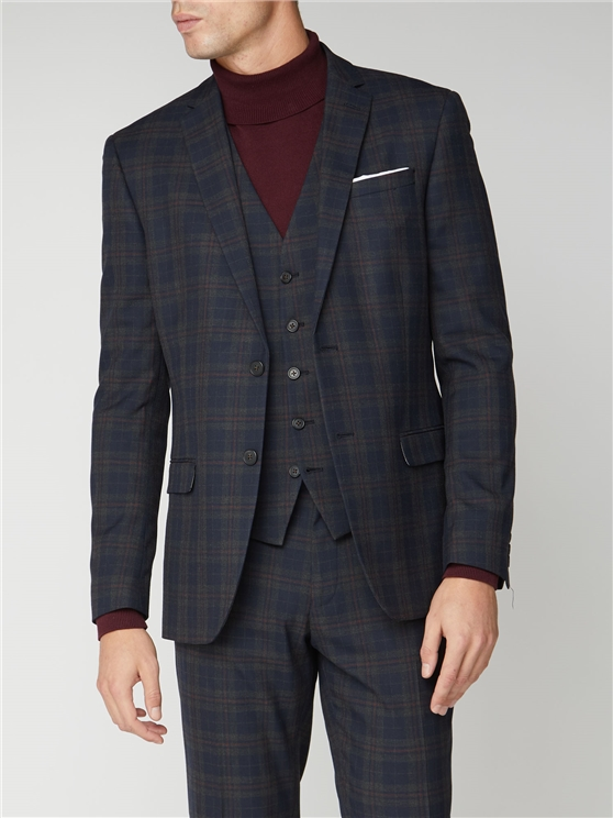 Navy Red Check Slim Fit Suit Jacket
