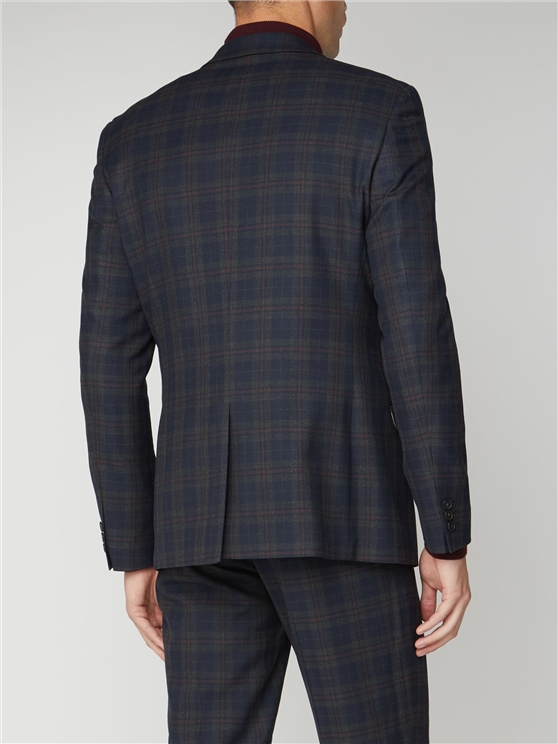 Navy Red Check Slim Fit Three Piece Suit