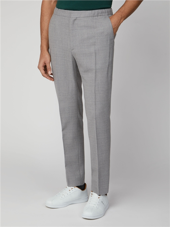 Light Grey Knit Structure Camden Fit Trouser