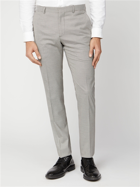 Mustard Puppytooth Slim Fit Suit Trouser
