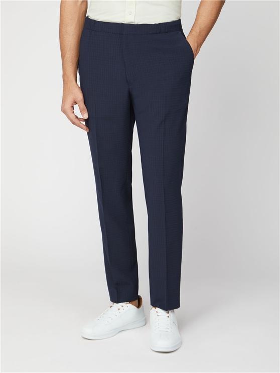Midnight Seersucker Check Camden Fit Trouser