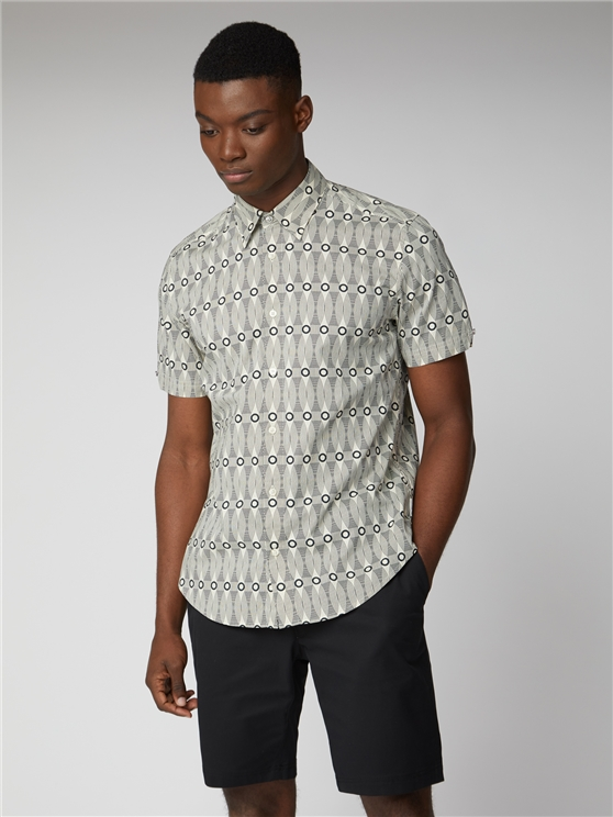 Short Sleeve Retro Print Shirt