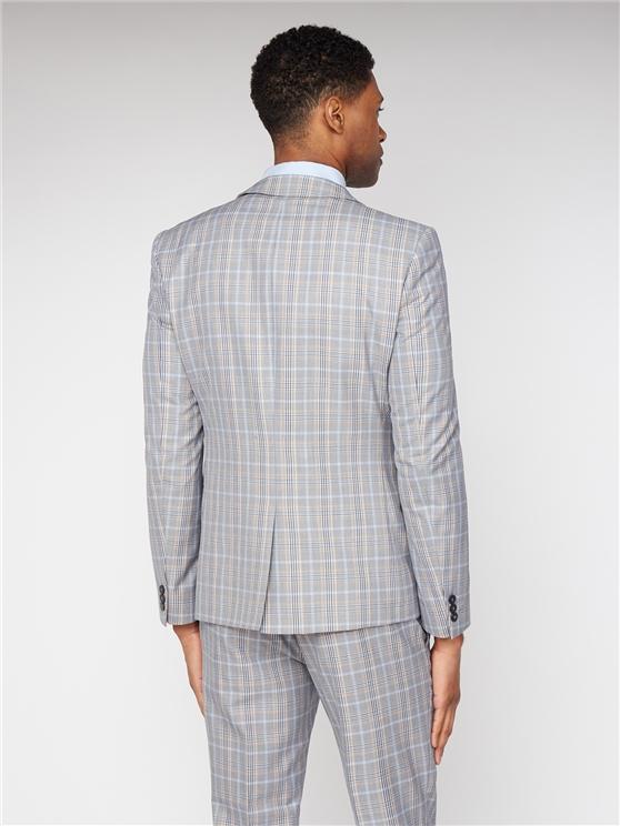 Grey Orange Bold Check Skinny Fit Three Piece Suit