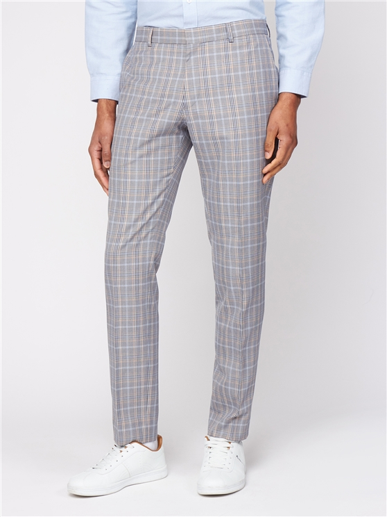 Grey Orange Bold Check Skinny Fit Suit Trouser