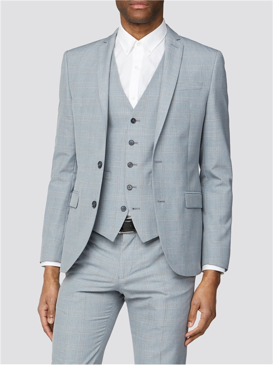 Light Grey and Blue Check Skinny Fit Three Piece Suit