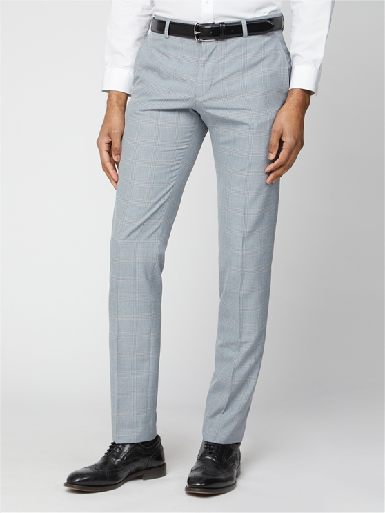 Light Grey and Blue Check Skinny Fit Suit Trouser