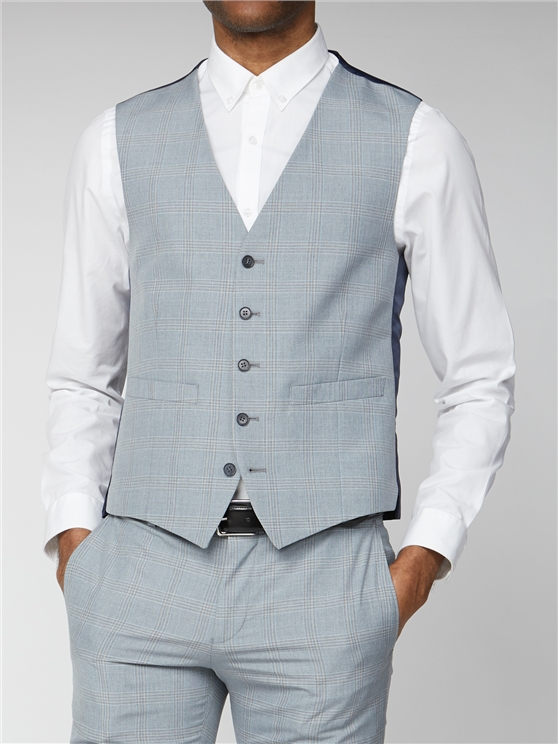 Light Grey and Blue Check Skinny Fit Suit Waistcoat