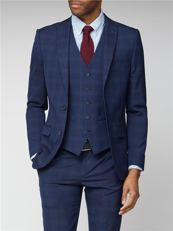 Navy Pink Bold Check Slim Fit Suit