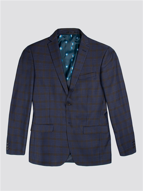 Blue Mustard Shadow Check Tailored Fit Suit Jacket