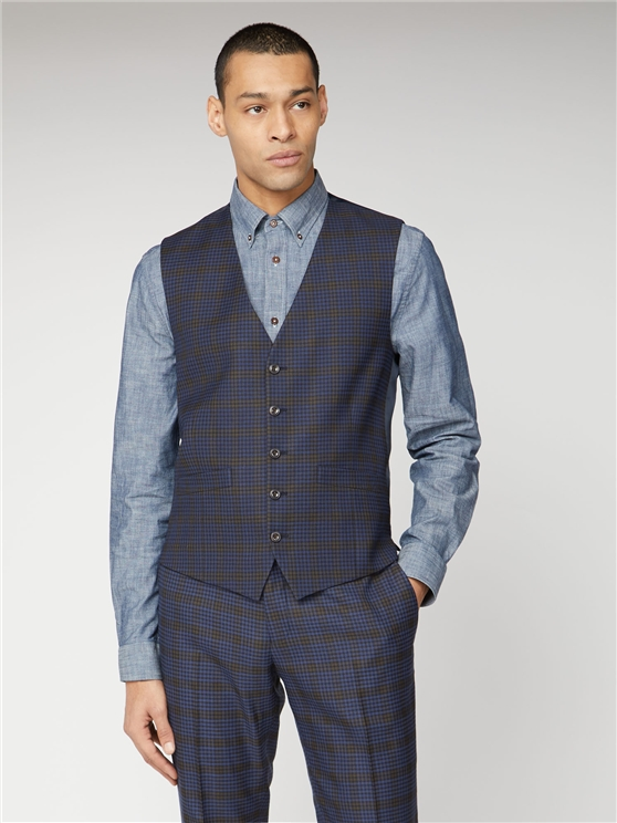 Blue Mustard Shadow Check Suit Waistcoat