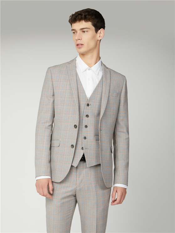 Grey Orange Prince of Wales Check Skinny Fit Three Piece Suit