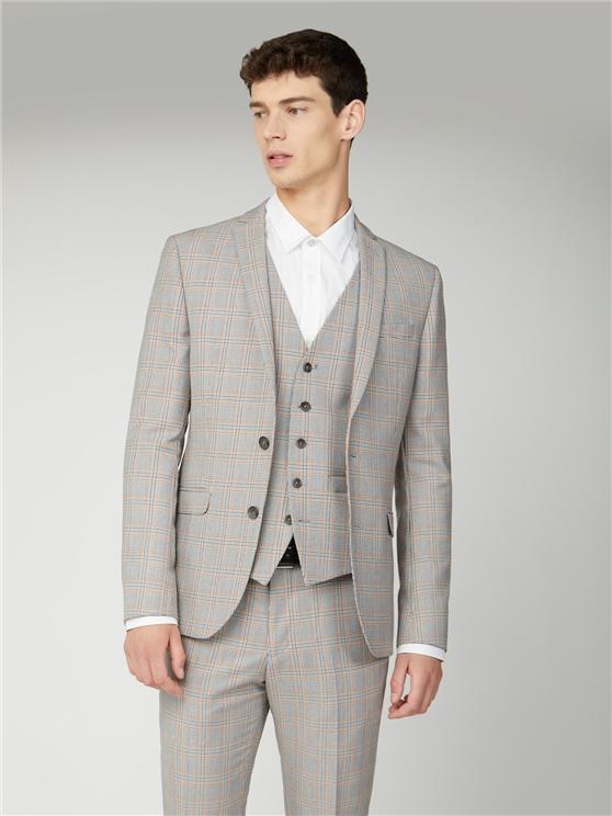 Grey Orange Prince of Wales Check Skinny Fit Suit Jacket