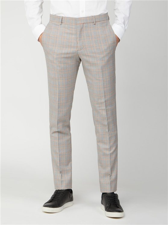 Grey Orange Prince of Wales Check Skinny Fit Suit Trouser