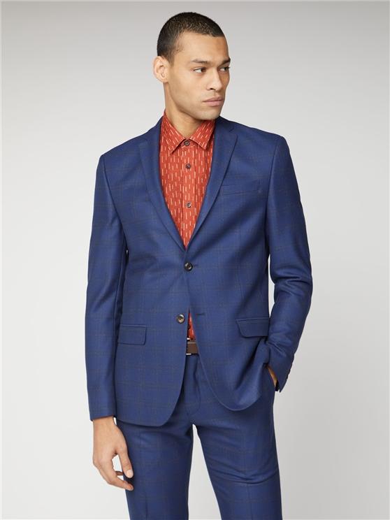 Blue Orange Check Slim Suit Jacket