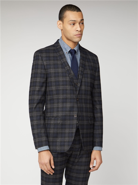 Blue Black Brushed Check Slim Fit Suit Jacket