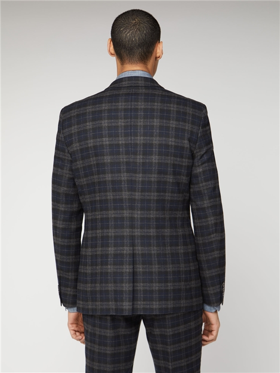 Blue Black Brushed Check Slim Fit Three Piece Suit