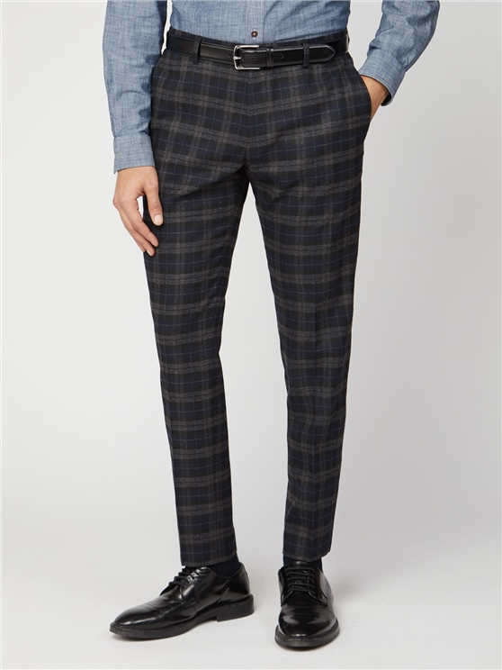 Blue Black Brushed Check Slim Fit Suit Trouser
