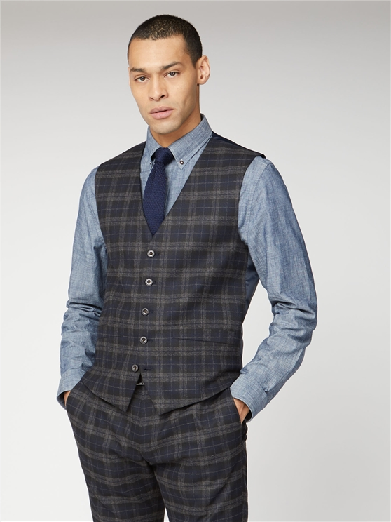 Blue Black Brushed Check Slim Fit Suit Waistcoat