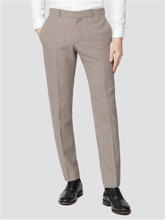 Red Black Puppytooth Slim Fit Trouser