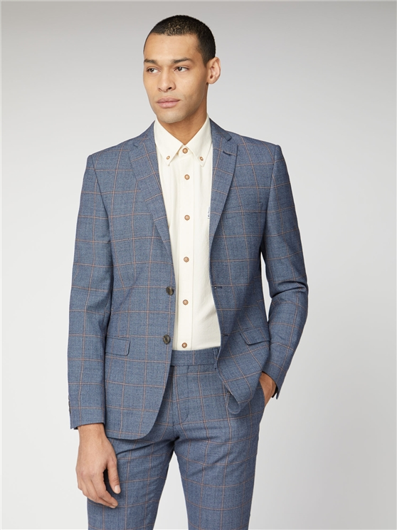 Blue & Rust Windowpane Check Tailored Suit