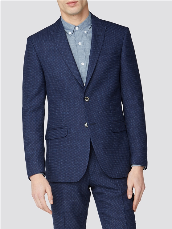 Blue Geo Structure Tailored Fit Suit Jacket