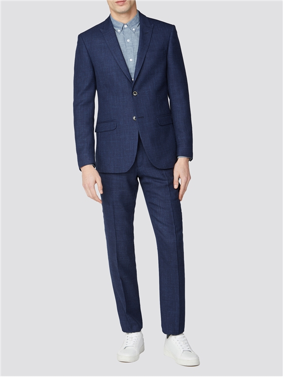 Blue Geo Structure Tailored Fit Suit Jacket