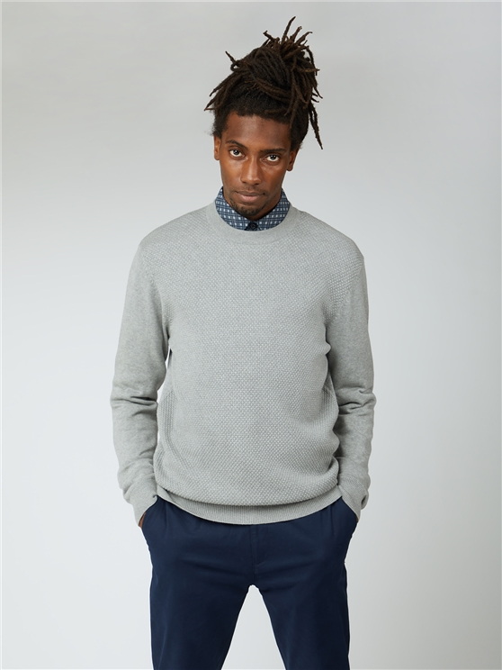Textured Front Crew Neck Jumper