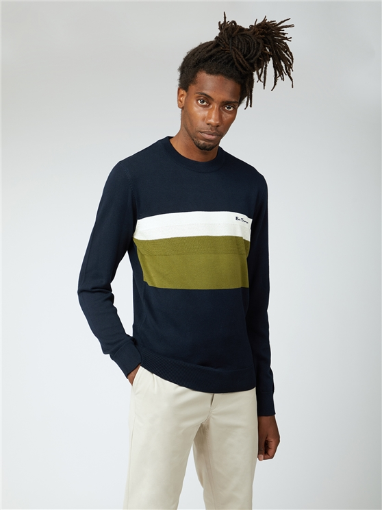 Chest Stripe Crew Neck Jumper